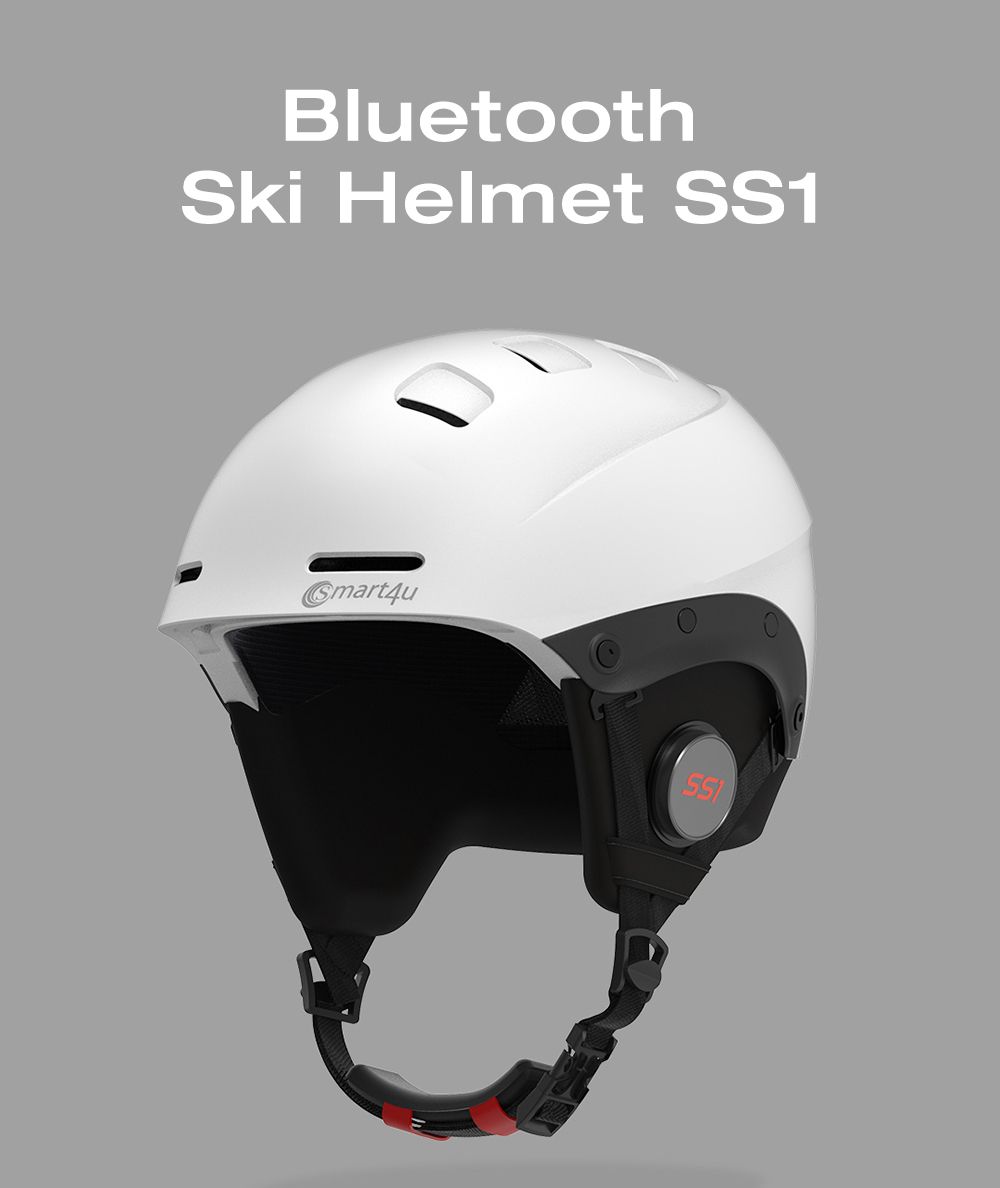 Smart4u Bluetooth casco da sci con IPX4 impermeabile interno staccabile- Nero Giallo