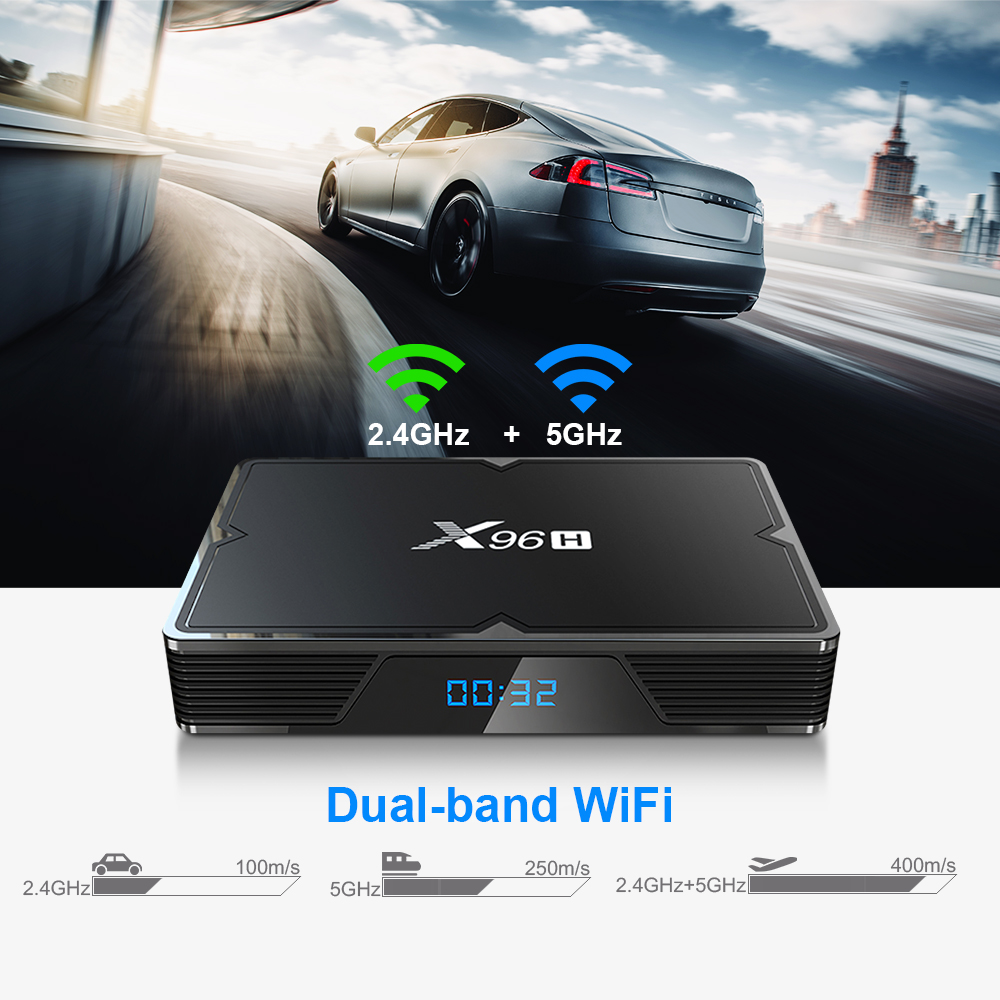 X96 X96H 6K TV Set-top Box Dual-band WiFi Media Player with Android 9.0 System for Home / Office- Black EU Plug