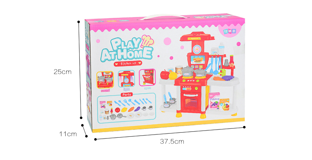 Multifunctional Kitchen Toys with Sound and Light- Hot Pink