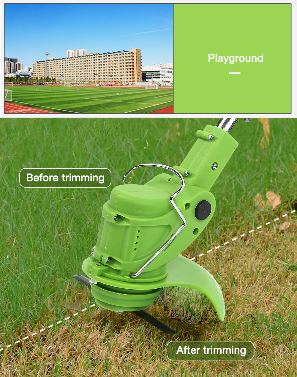 Cordless Grass Trimmer Lawn Mower with Adjustable Handle- Green EU Plug