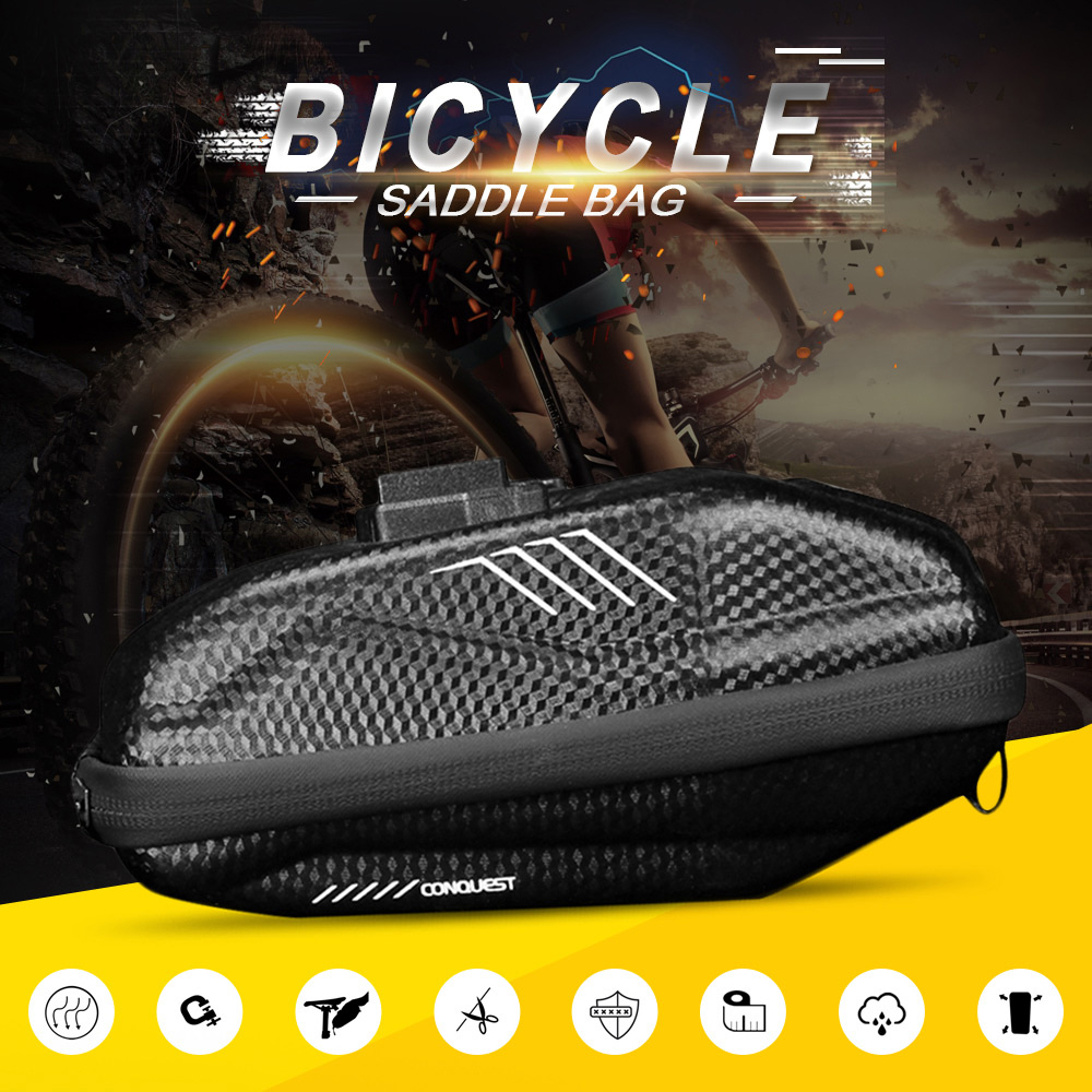 WILD MAN E7 0.8L Bike Saddle Bag Bicycle Seat Rear Tail Pouch Clamp Fixation Smooth Zipper- Black
