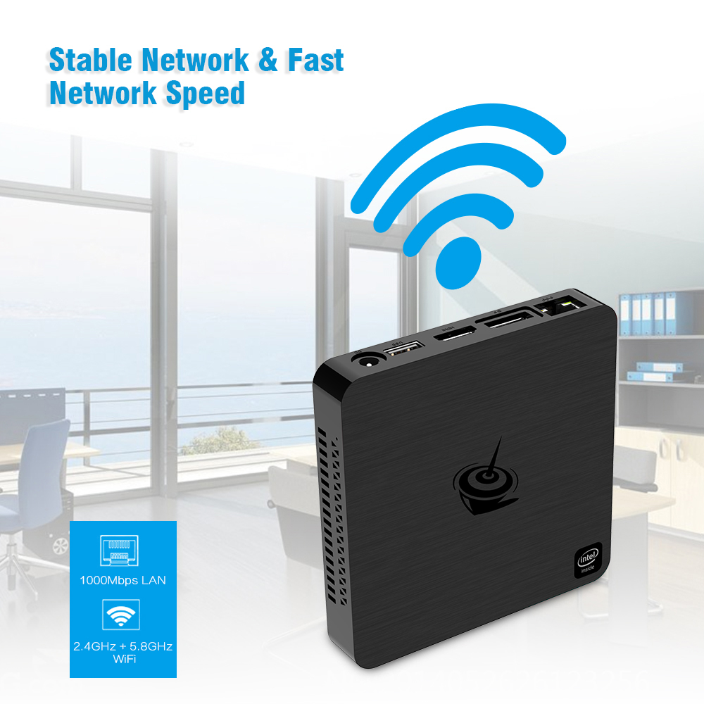 Beelink T4 New Desktop Mini PC Intel Atom x5 - Z8500 Intel HD Graphics 600 / 4GB RAM + 64GB EMMC / 2.4GHz + 5.8GHz WiFi / 1000Mbps / 2 x USB3.0 / BT4.0 / Support 4K 30fp- Black EU Plug
