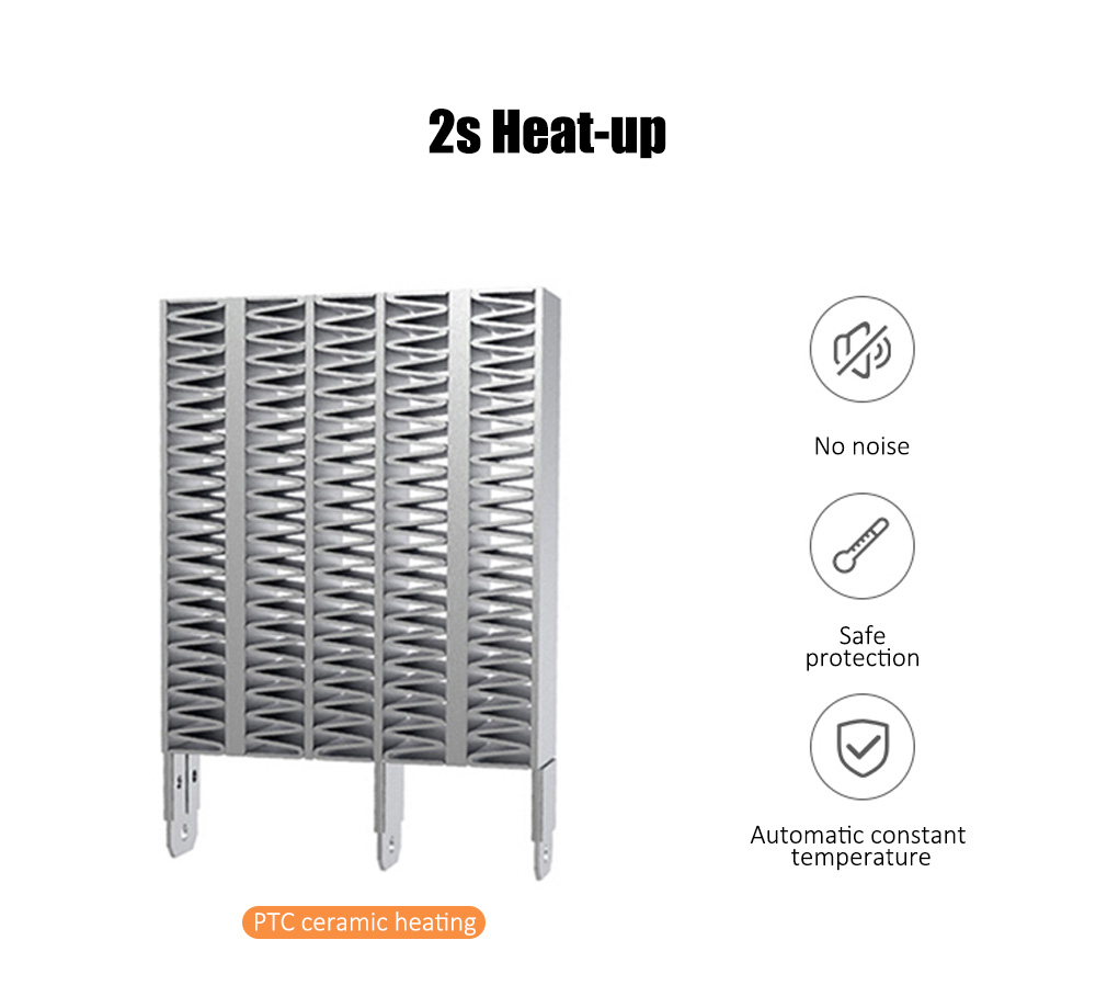 Desktop Fan Heater PTC Ceramic Heating 2s Heat-up Flame-proof ABS Housing for Home / Office / Hotel- White US Plug (2-pin)
