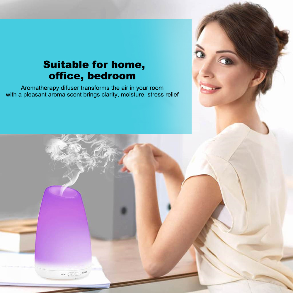 Aromatherapy Diffuser Essential Oil Machine 150ml Water Tank Air Humidifier- White US Plug (2-pin)