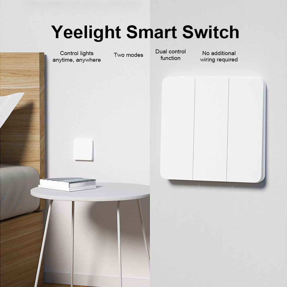 Yeelight Commutateur Intelligent de Conception d'Auto-Rebond Triple Bond- Blanc Trois