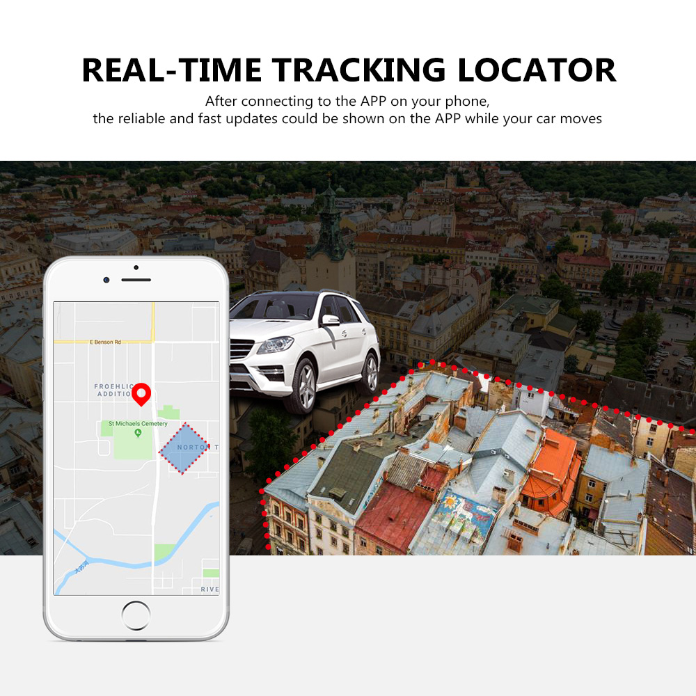 K3 Vehicle GPS Tracker Built-in Strong Magnetism Mini Real-time Tracking Locator for Car Kid Pet- Black