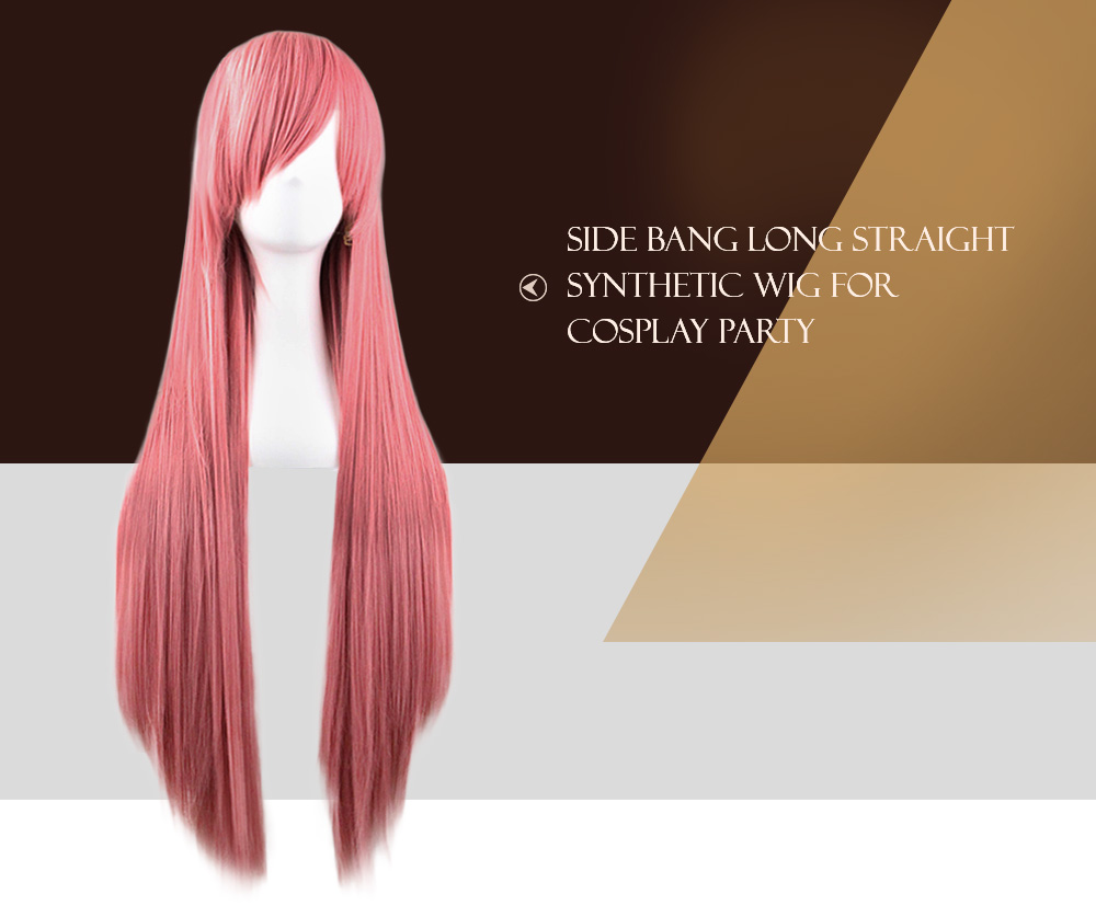 Side Bangs Long Straight Synthetic Wig for Cosplay Party- Chocolate