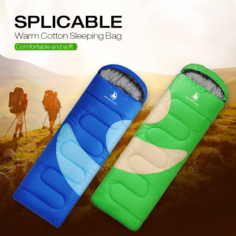 HUILINGYANG Single Stitched Envelope Cotton Sleeping Bag Camping Travelling- Green Onion