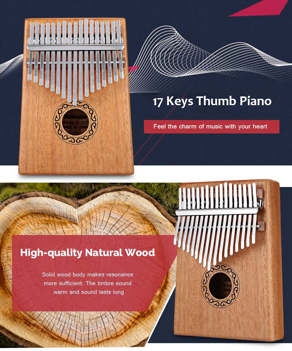 W - 17T 17 Keys Tone Wooden Thumb Piano Portable Finger Musical Instrument