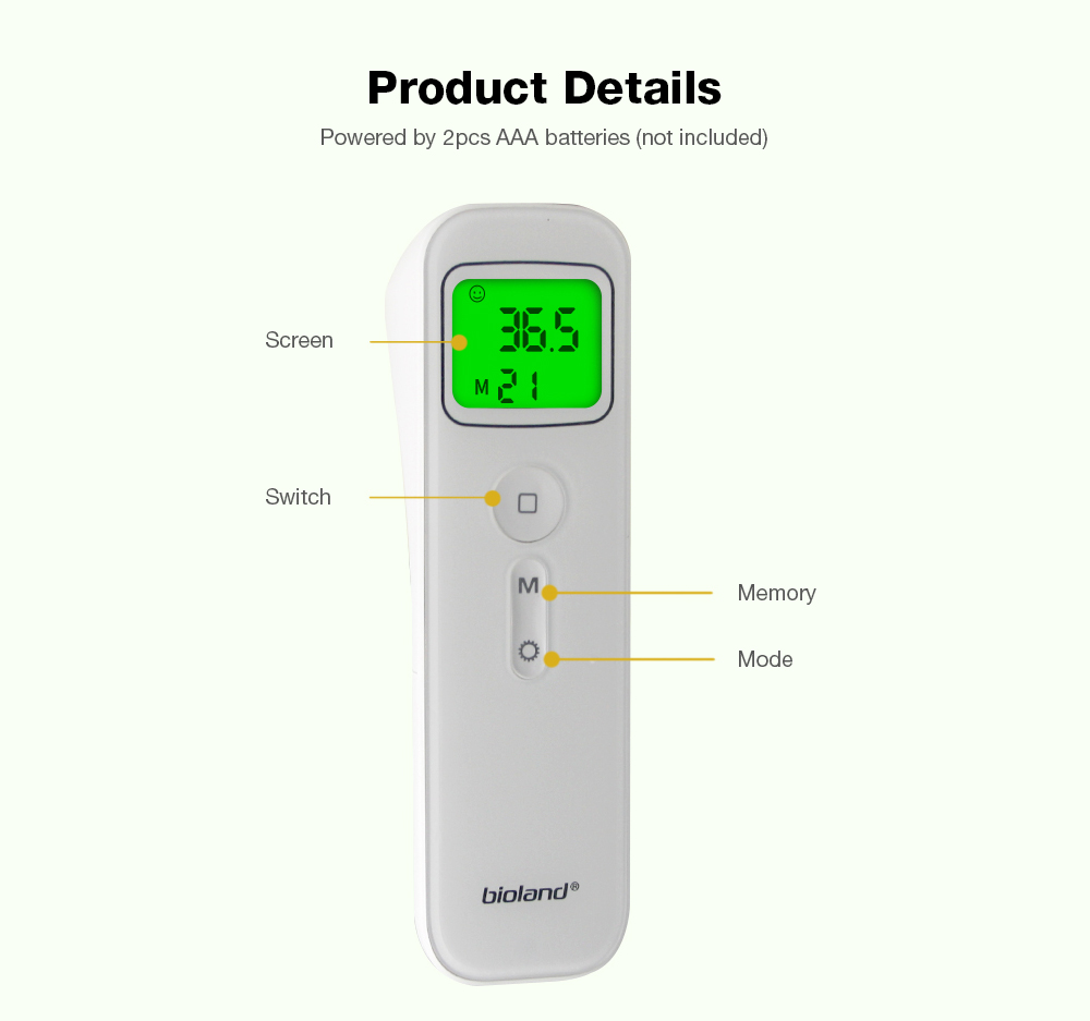 Bioland E122 Non-contact Infrared Thermometer 1s Fast Response 3-color Backlit LCD Display
