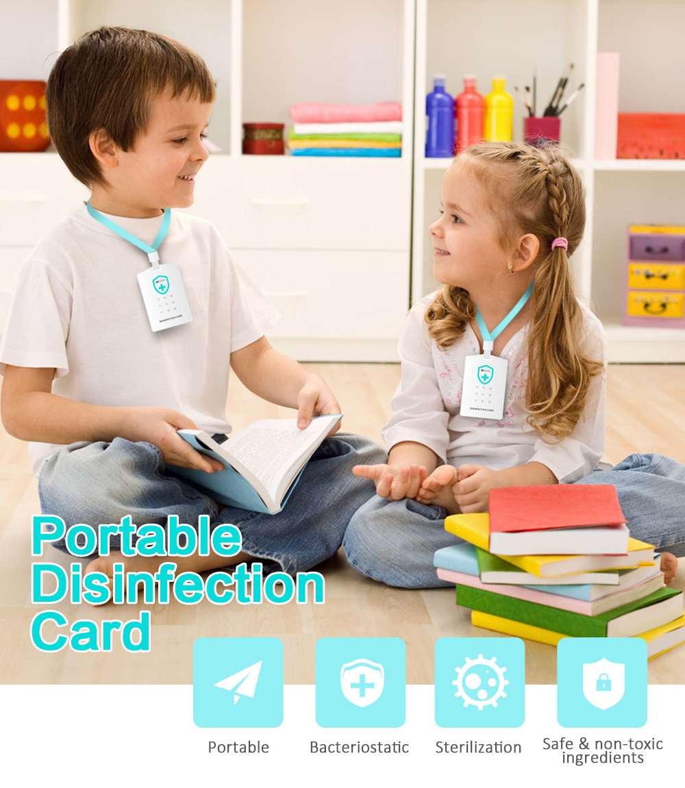 HEASY Portable Disinfection Card with Lanyard Safe Ingredients Protection for Office School Bus