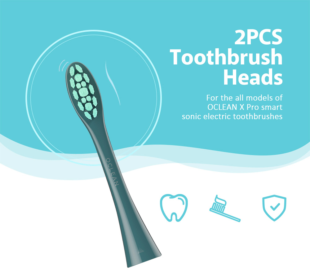OCLEAN PW09 2PCS Brush Heads for All OCLEAN X Pro Smart Sonic Electric Toothbrushes Soft Bristles