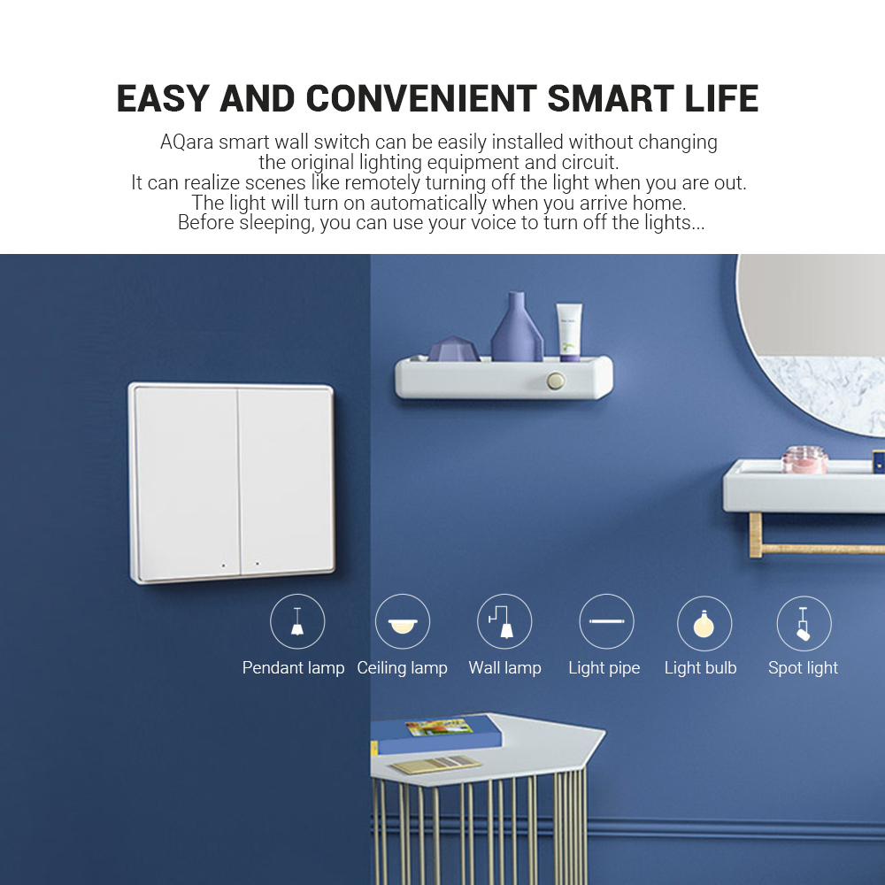AQara D1 Wireless Smart Wall Switch 1-gang Neutral and Live Wire App / Voice Control Over-heat Protection