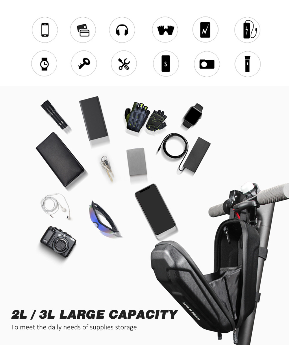 WILD MAN Front Hanging Electric Scooter Storage Bag EVA Bicycle Handlebar Cycling Pouch for Carrying Charger Accessories
