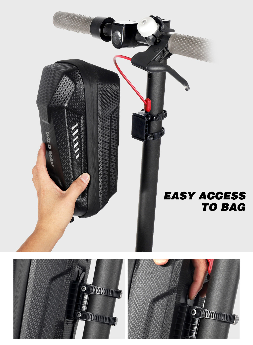 WILD MAN Front Hanging Scooter Storage Bag EVA Bicycle Handlebar Cycling Pouch for Carrying Charger Accessories