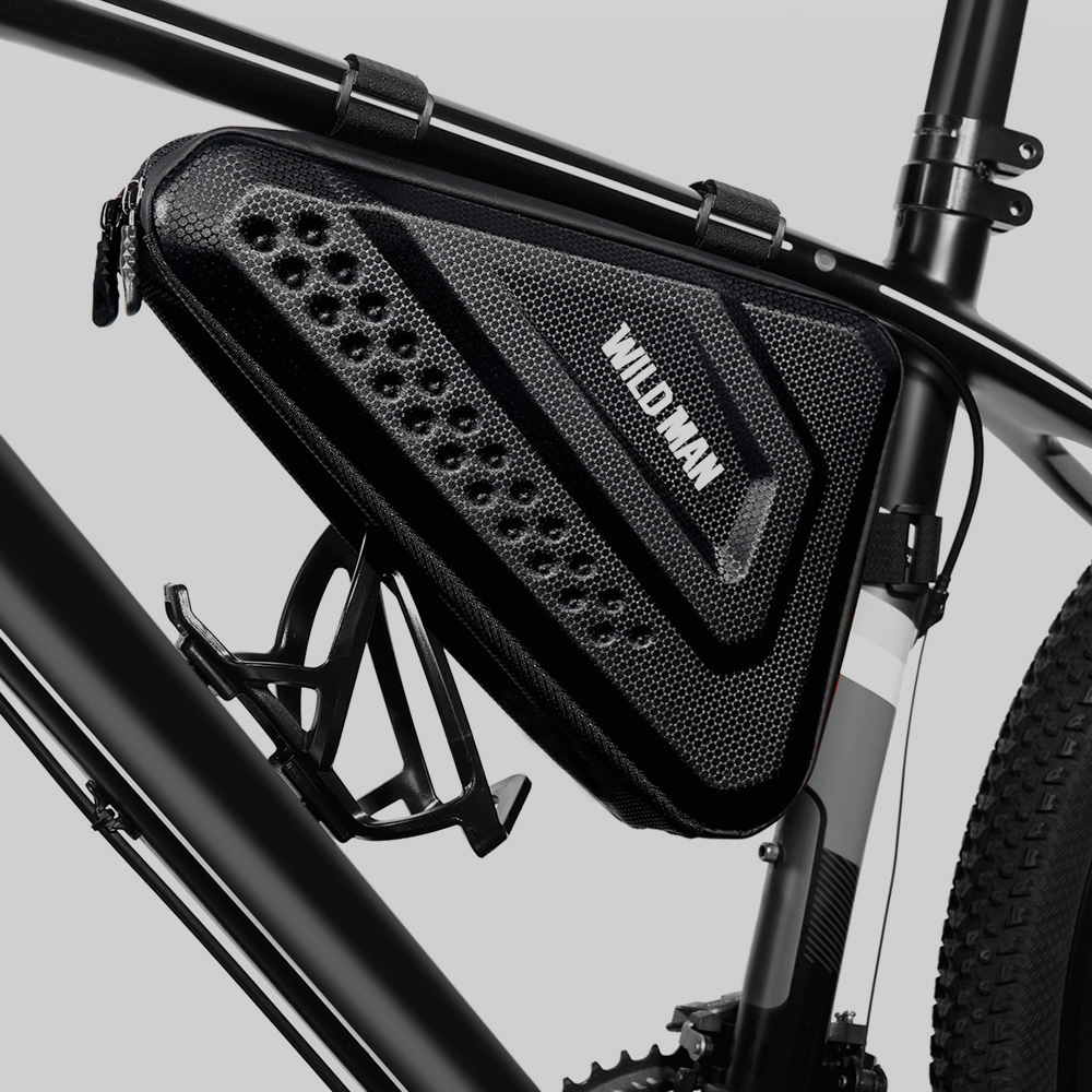 WILD MAN MTB Front Frame Bicycle Bag Mount Top Tube Triple-cornered Pouch EVA Hard Shell Phone Case Cycling Accessories