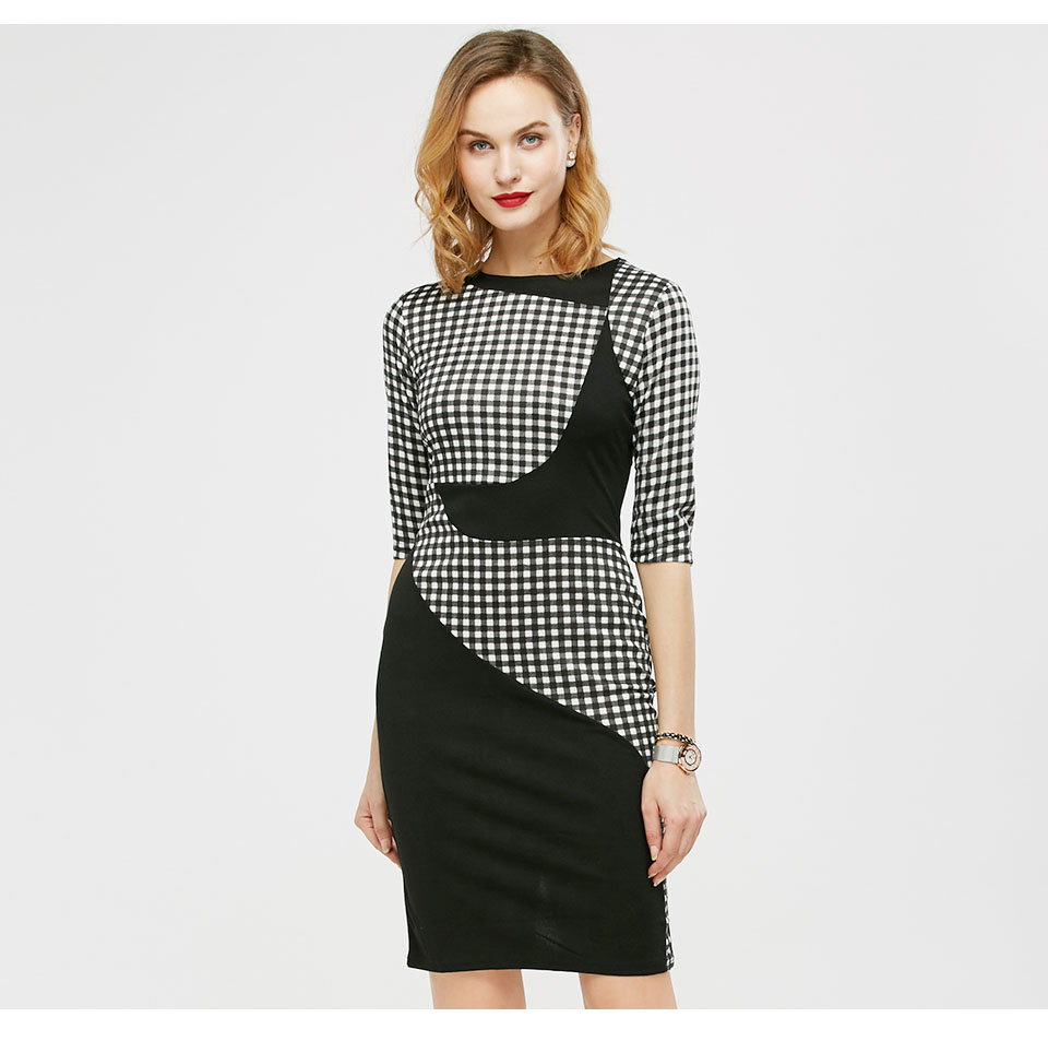 Kenancy New Arrivals Ladies Color block Dresses Plaid Three Quarter Sleeve  Fitted Women Casual Work Office 617724f7ae56