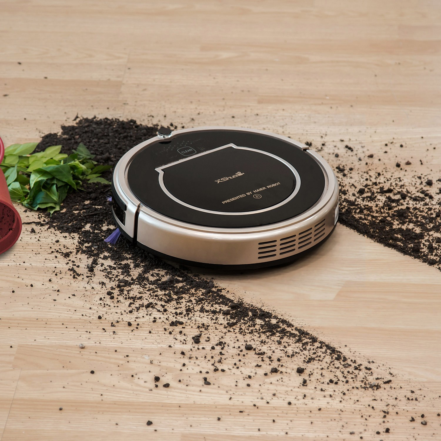 XShuai T370 Robot Vacuum Cleaner with Alexa Voice Control Wi Fi Connected Self Charging Gyroscope Navigation 1500Pa Powerful Suction HEPA Filter Pet