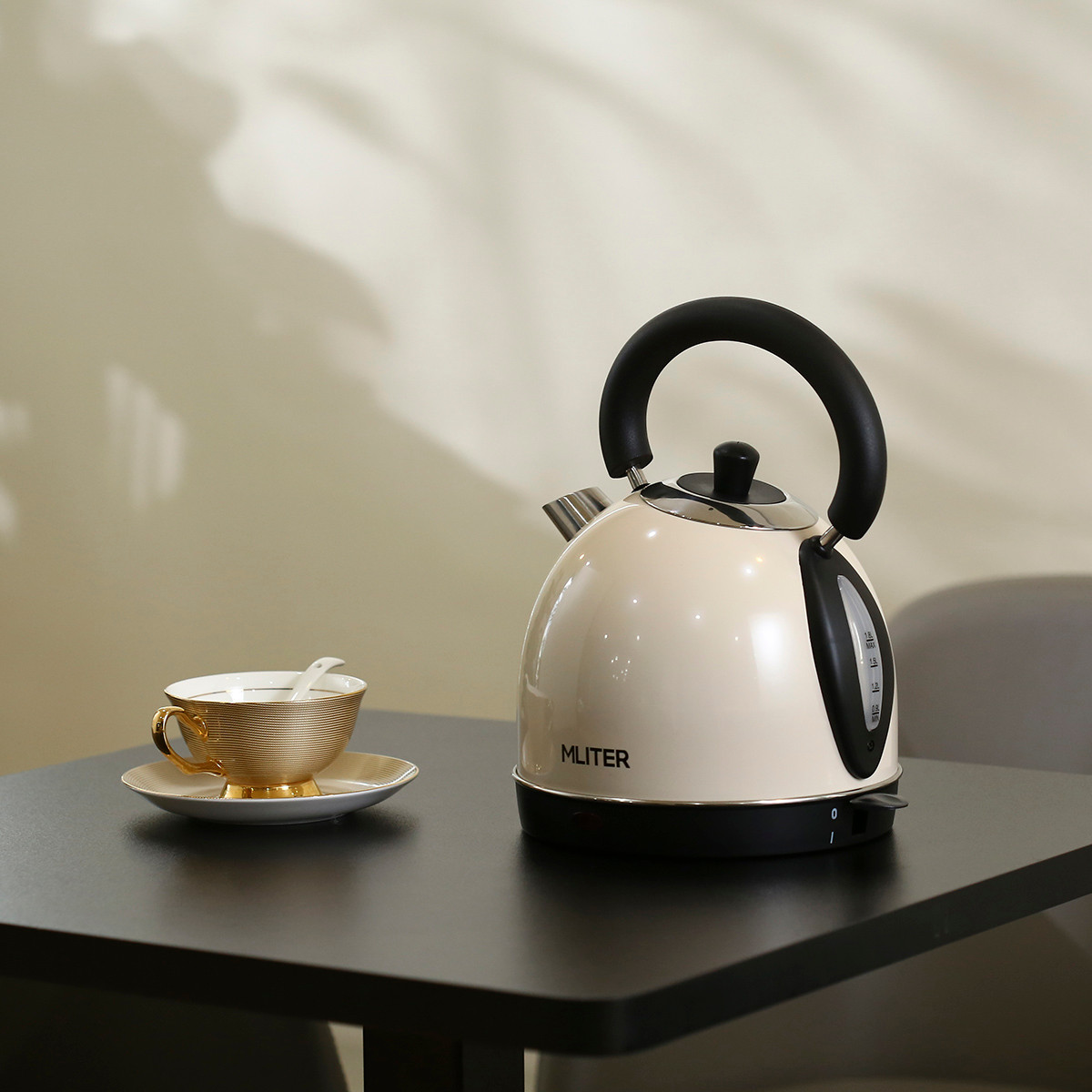 Mliter Electric Dome Kettle 3000W 1.8 Litre, Cordless, Stainless Steel, Cream-coloured, Boil Dry Protection- Beige