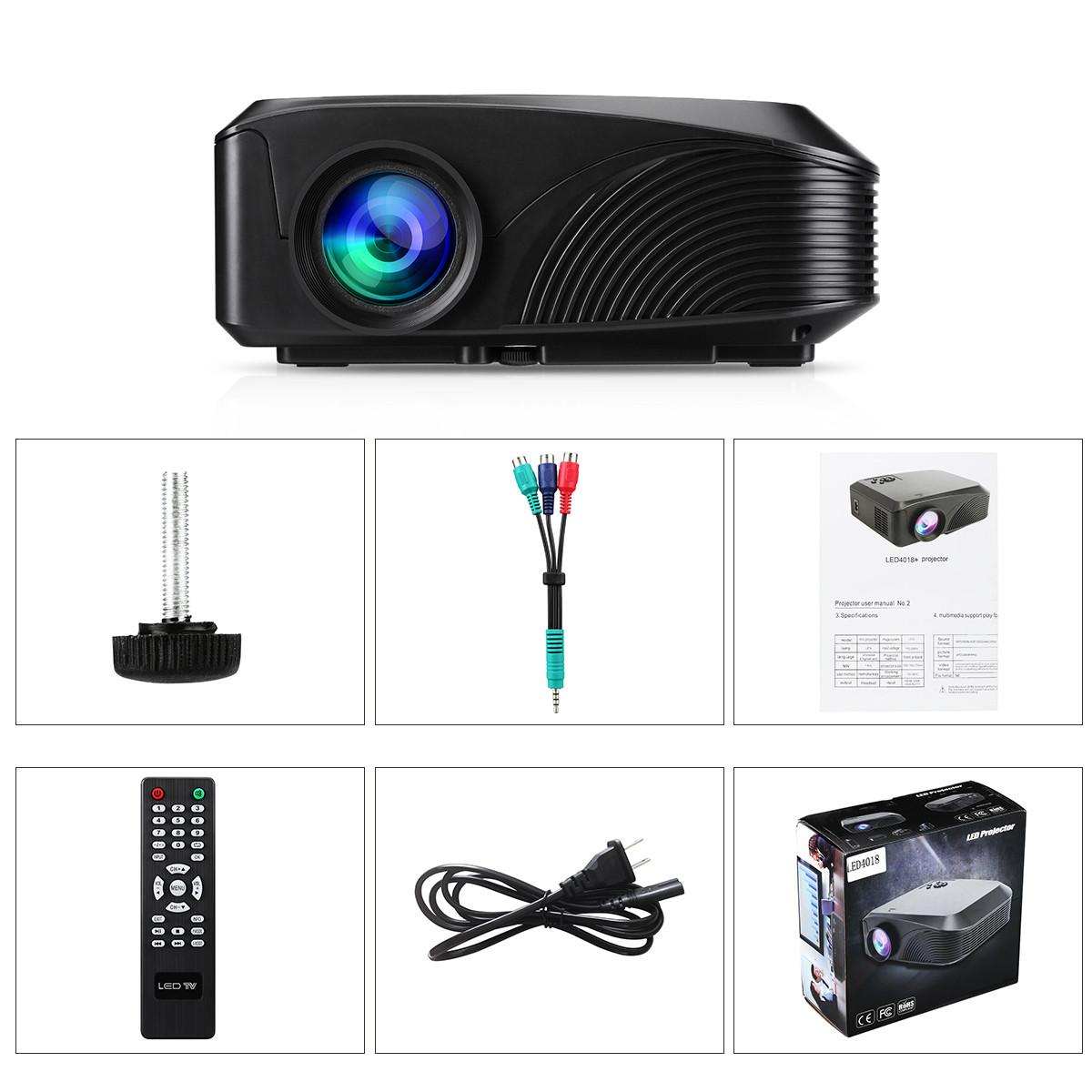 Excelvan LED-4018 Portable 1200 Lumens 800*480 Support 720P 1080P ...