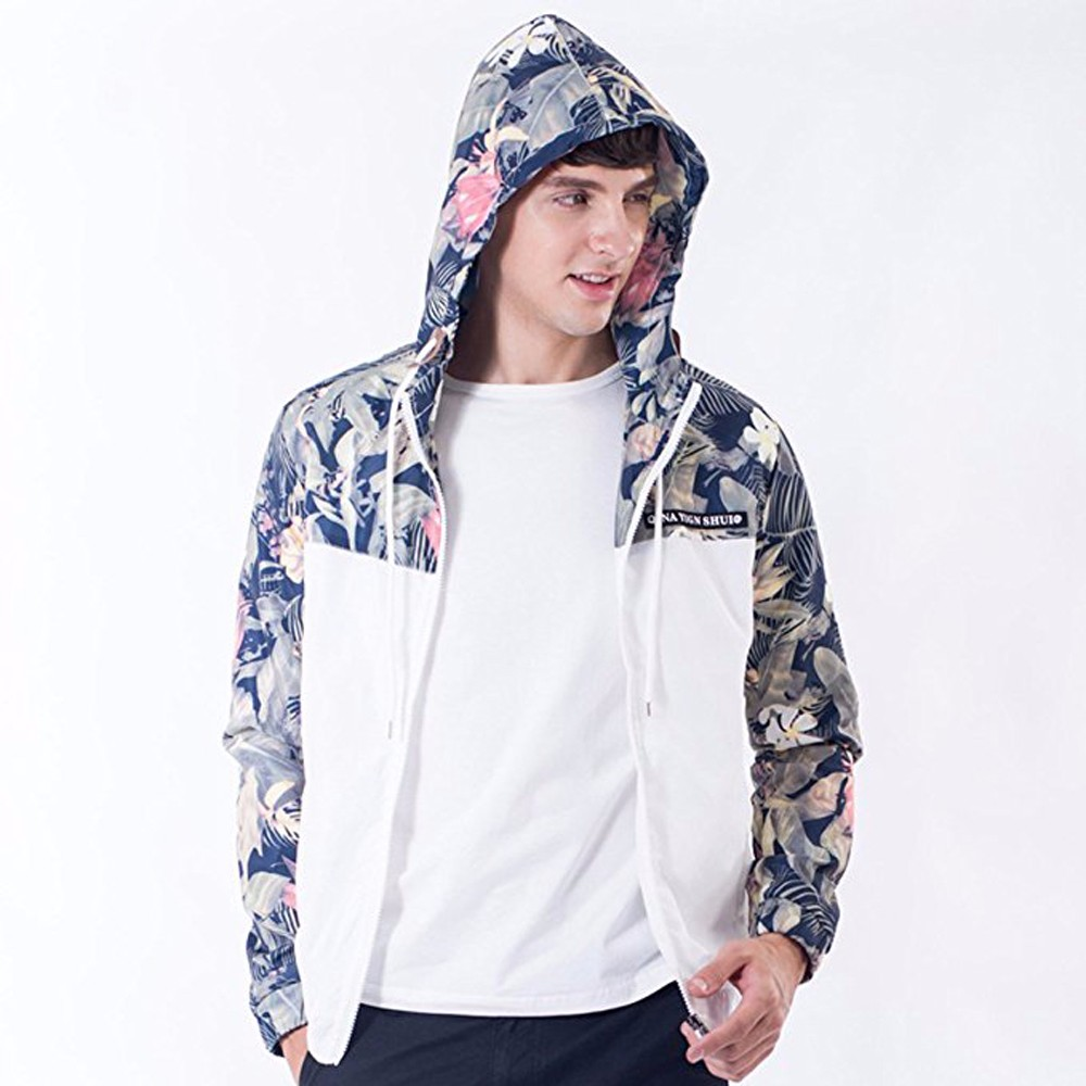White Floral Bomber Jacket Men Hip Hop Slim Fit Coats Flowers ...