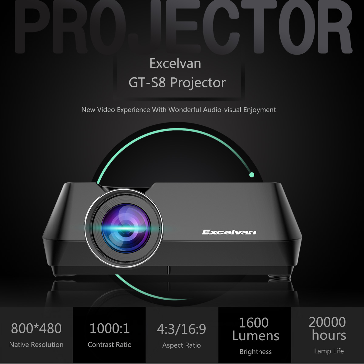 Excelvan Gt S8 800 X 480 Portable Multimedia Lcd Projector With Marshall Electronics Optical Division Line High Resolution Color 800480 Hdmi Usb Vga Av