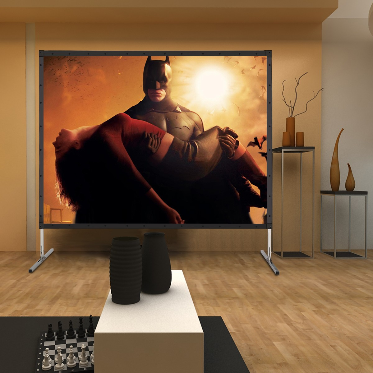 Excelvan 4K Ultra HD Movie Theater Fast-Fold Projector Screen 120 inch 4:3 with Stand Legs and Carry Bag For Front Projection