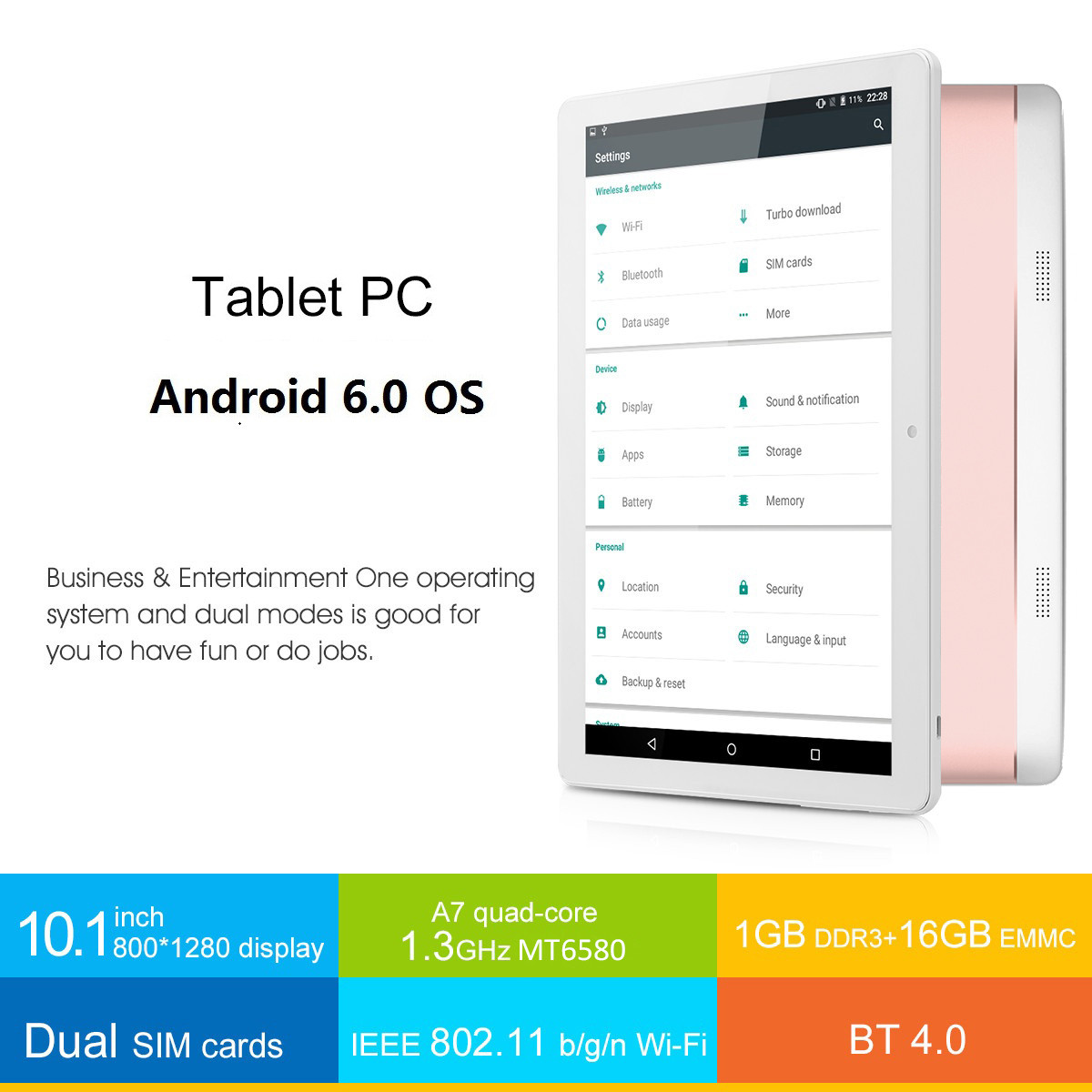 "Excelvan 10 1"" 1280*800 Android 6 0 MT6580 Quad Core 1GB+16GB WiFi 3G Dual  Camera G-sensor GPS OTG FM Tablet PC Pink"