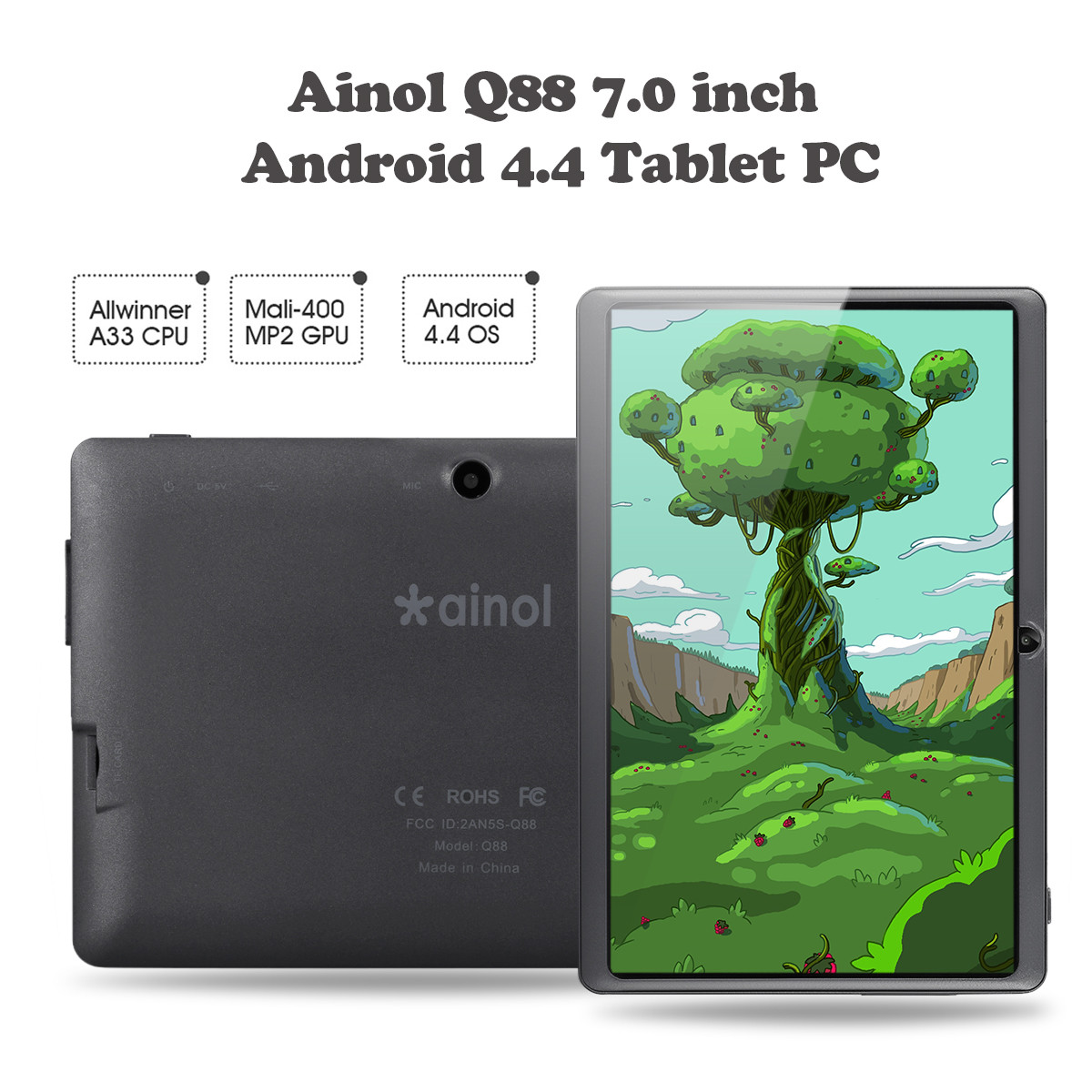 "Ainol Q88 7""1024*600 Android 4 4 Allwinner A33 512MB+8GB Dual Camera WIFI  External 3G Tablet PC -- RED"