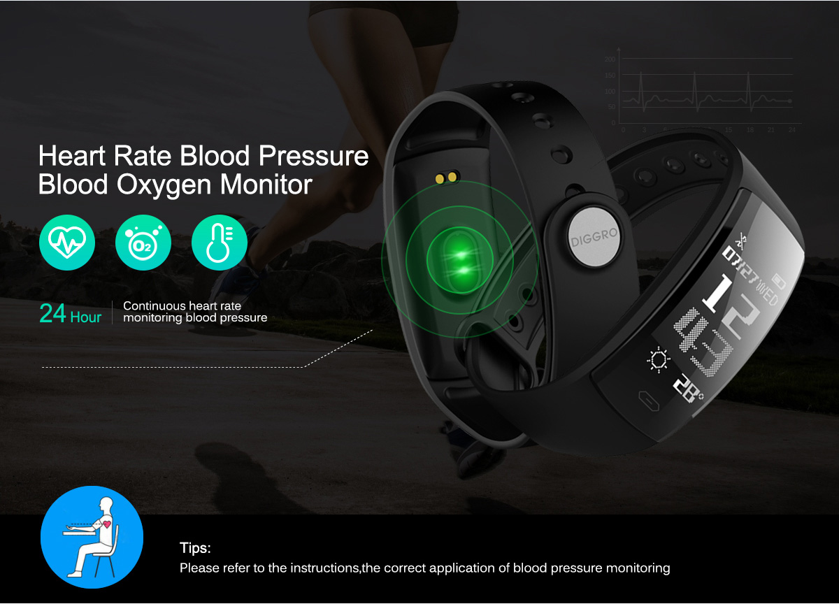 QS80 Upgrade Diggro QS90 Smart Sport Wristband 0.96inch OLED Bluetooth4.0 Real-time Heart Rate Monitor Blood pressure and Blood Oxygen Monitor Multi-sport Pedometer Call Message Reminder IP67 Fitness