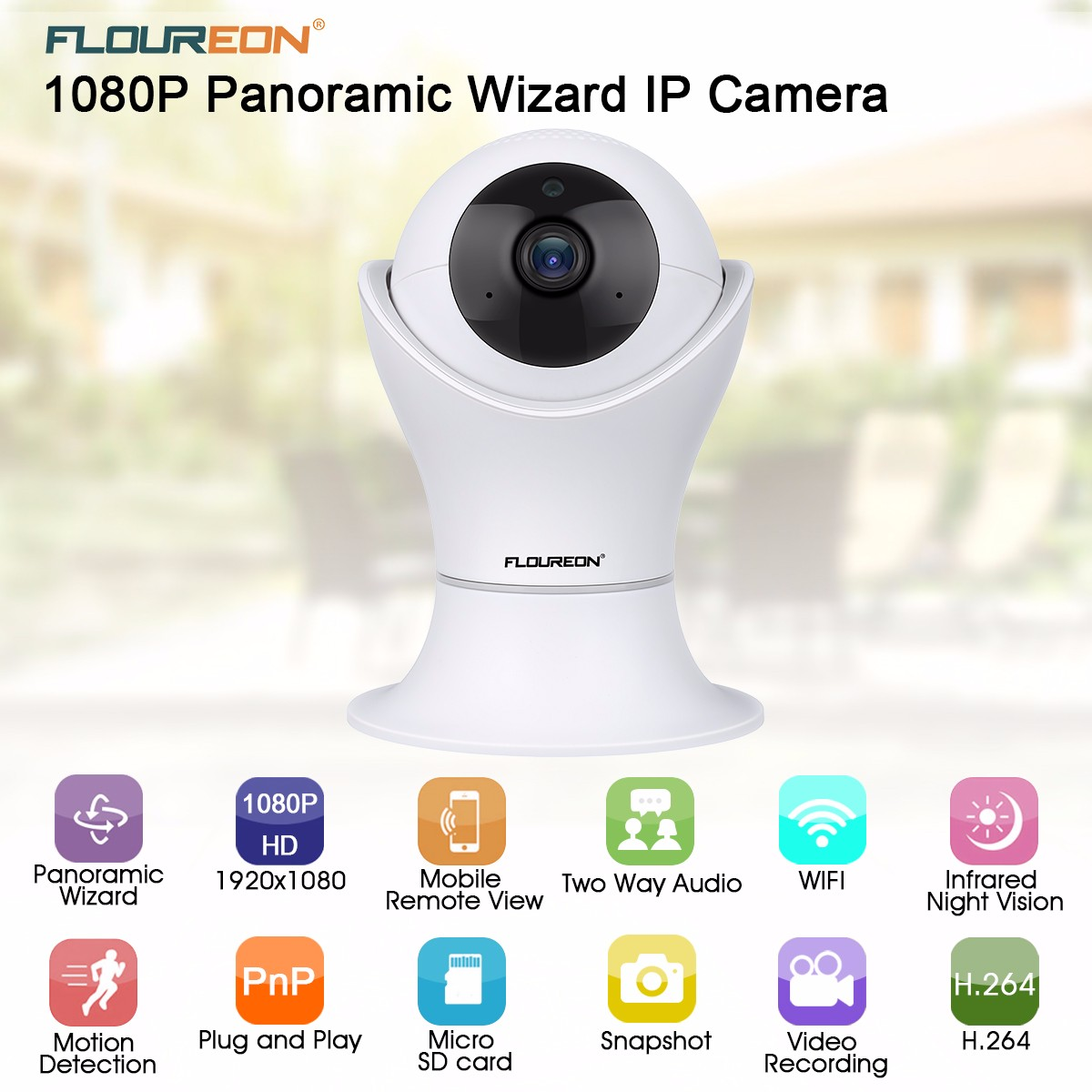 Floureon 1080p H264 Wifi 20 Megapixel Wireless Cctv Security Ip Remote View Mobile Dvr With Shock Sensor And Mounting Bracket Camera Tf Slot Us