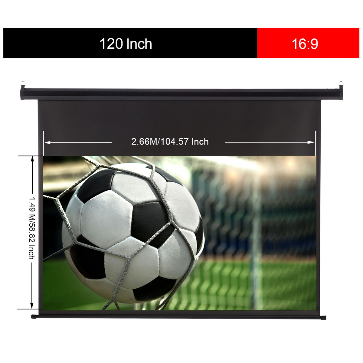 Excelvan 120-inch 16:9 1.2 Gain Wall Ceiling Electric Motorized HD Projector Screen with Remote Control Up and Down for Home and Office- Black EU