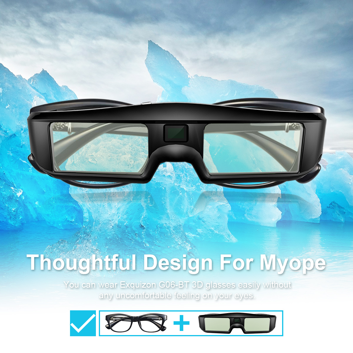 6d4b060e20 Exquizon G06 - BT 120Hz Active Shutter 3D Glasses Rechargeable Lightweight  1 Pair Selling For All
