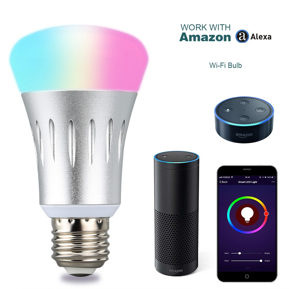 Excelvan WiFi Smart LED Bulb Works with Amazon Alexa E27 Dimmable Multicolored LED for iOS Android App Control / Voice Control Home Lighting Coupon Code and Review 2018
