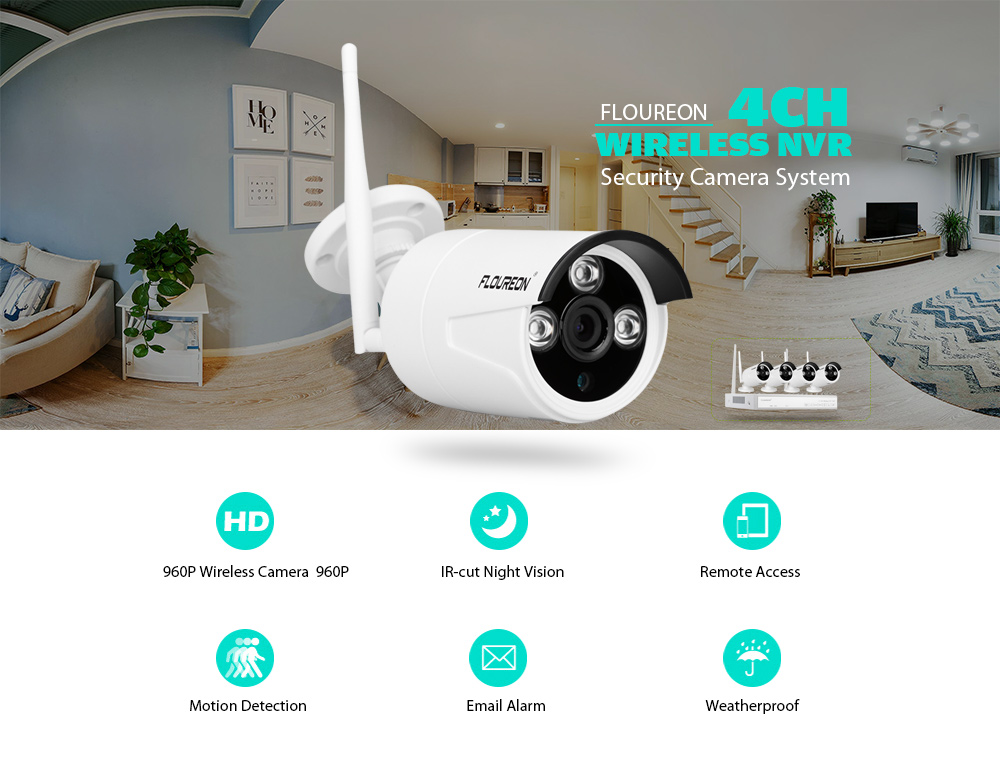 FLOUREON 4CH Wireless CCTV 1080P DVR Kit Outdoor Wifi WLAN 1.3MP 960P IP Camera Security Video Recorder NVR System EU- White