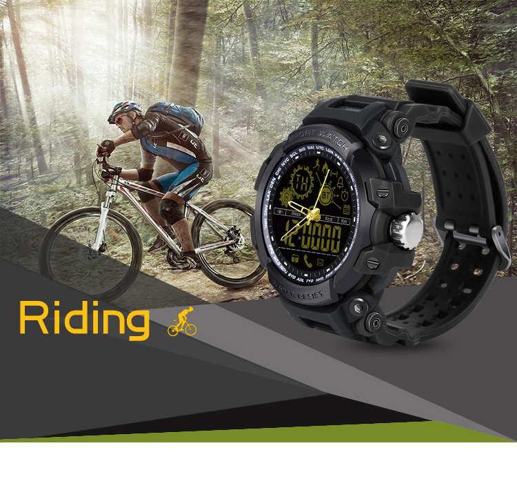 Diggro DI10 Smart Watch Outdoor Sport IP68 Waterproof 5ATM Luminous Dial Pedometer Message Reminder 12 Months Long Standby Time With Clock Pointerfor Android IOS- Black