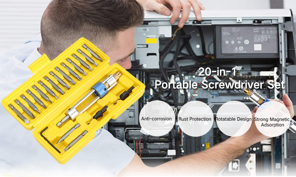 Excelvan 20 in 1 Multifunctional Rotatable High Speed Steel Drill Bits Screwdriver Set- Yellow