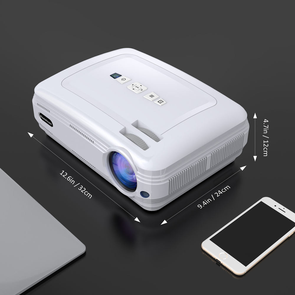 1080P Support 1GB + 8GB Android 6.0.1 Red Blue 3D WiFi Bluetooth 200 Inches Projection Size- White EU