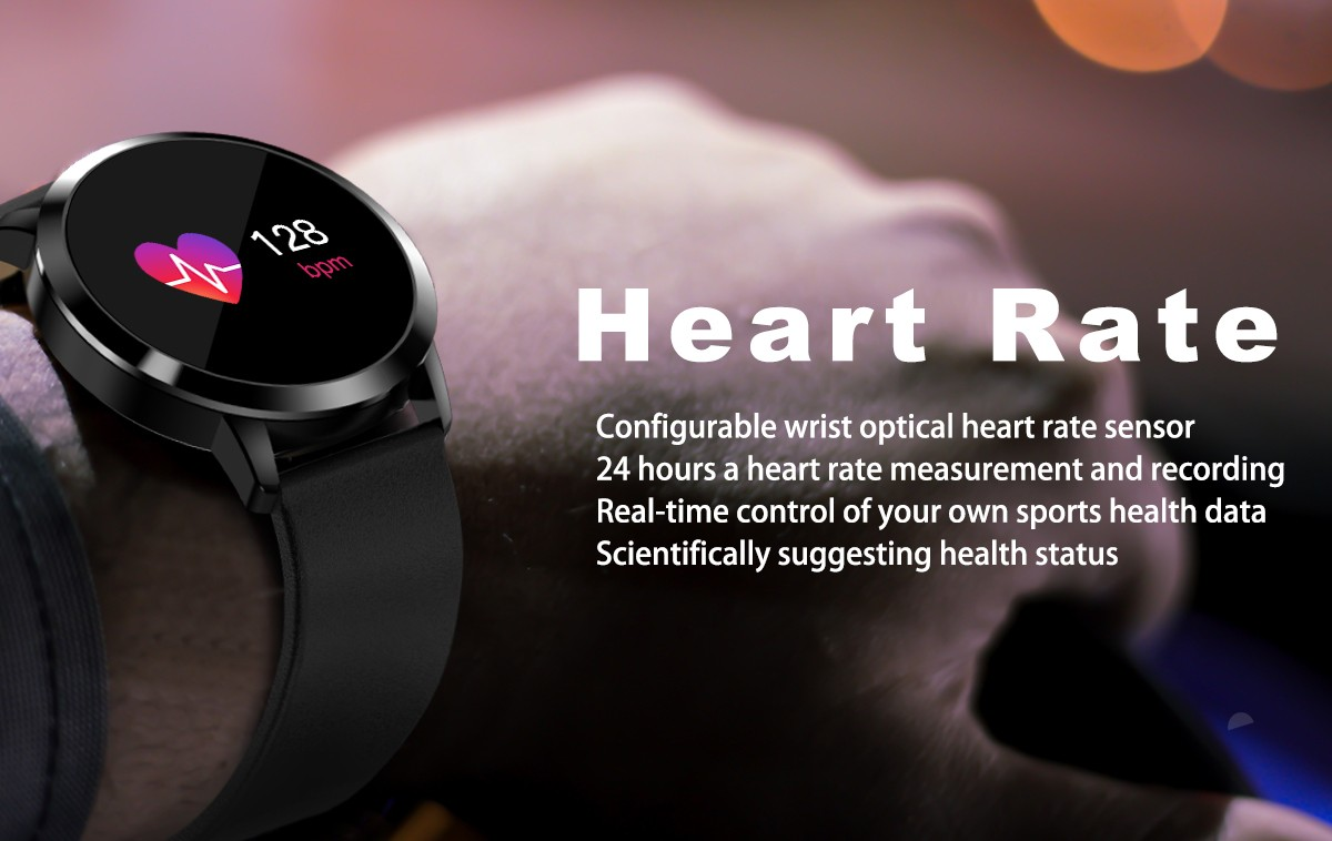 Diggro Q8 Smart Watch OLED Color Screen Heart Rate Monitor Blood Pressure Oxygen IP67 Pedometer Fun Game Men Women Sport Fitness Watches- Black