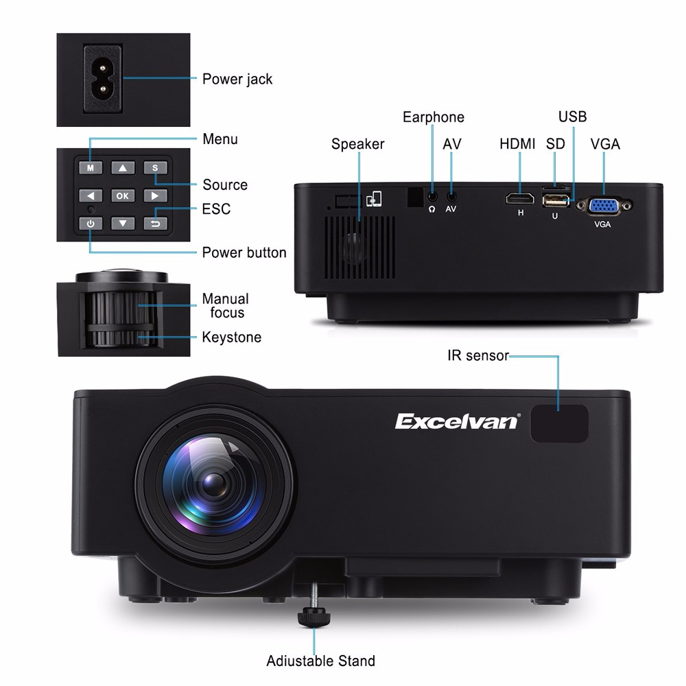 Excelvan E09 Android Bluetooth4.0 Home Theater Projector HD 1080P 4K Video Black