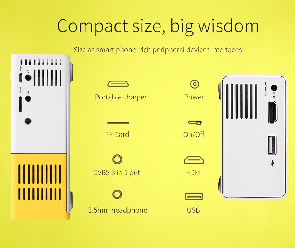 Excelvan Home Mini Projector YG300 320 x 240P Support 1080P AV USB SD Card HDMI Interface- YELLOW WHITE AU Plug