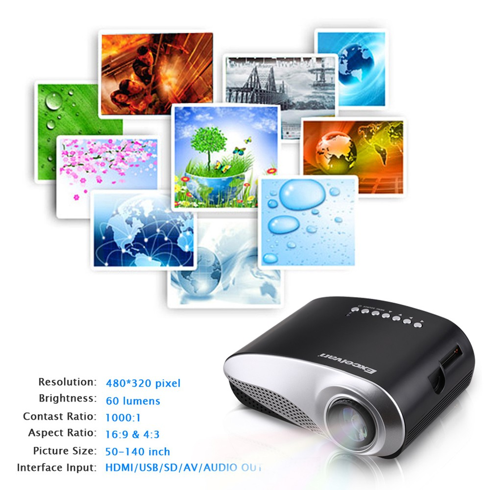 Excelvan HOT Home Theater LED LCD Projector 480*320 USB VGA HDMI EU Plug- White EU Plug
