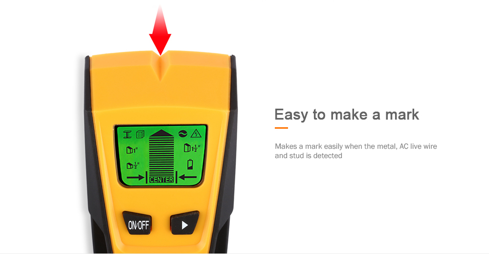 FLOUREON TH-210 Stud Center Finder Metal and AC Live Wire Detector- Yellow