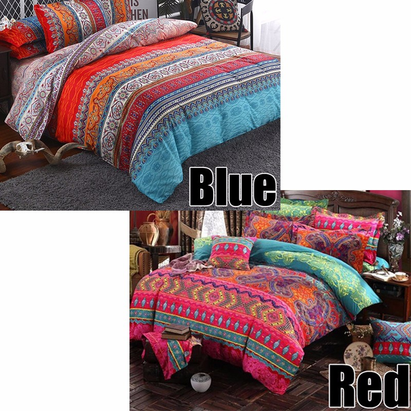 New Luxury Bohemian Duvet Cover Pillowcase Bedding Set Printing Twin Full Queen King- Red Queen Size