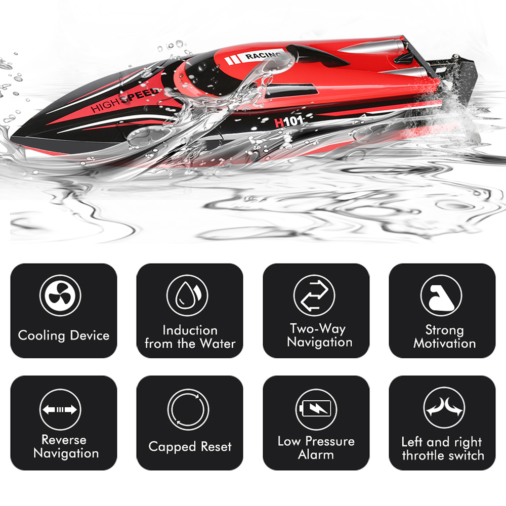 Virhuck H101 Rc Boat 2.4G 4CH Remote Control Boat With High Speed(Only Work In The Water)- Red