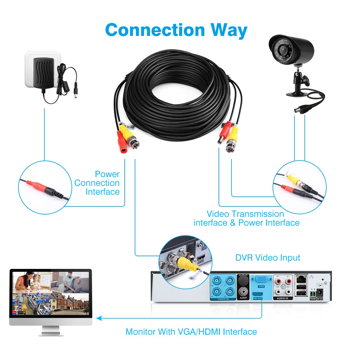 30m cctv dvr camera recorder video cable dc power security surveillance rca  bnc cable- black