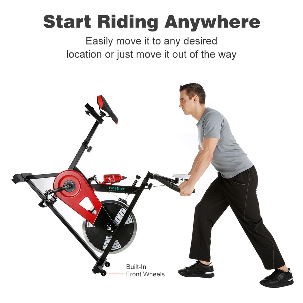 Finether Exercise Bike, Indoor Chain Driven Cycling Bike Stationary Bicycle with 29 lb/13 kg Flywheel, Pulse, Water Bottle and Transport Wheels, 265 lbs Weight Capacity, Black- BLACK&RED