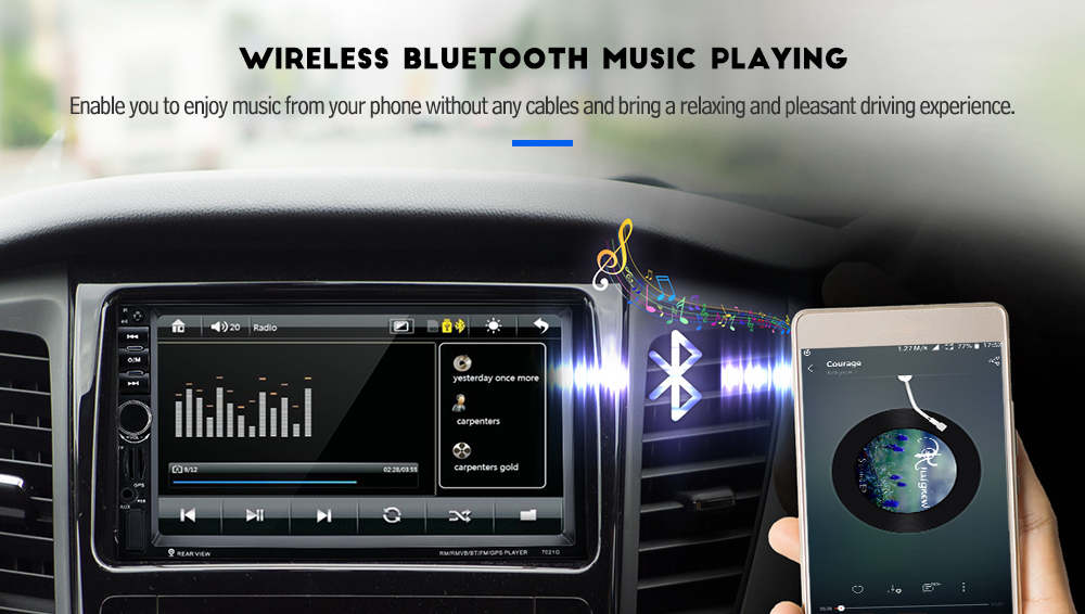 Excelvan 7021G 7-inch Car MP5 Player with GPS Function