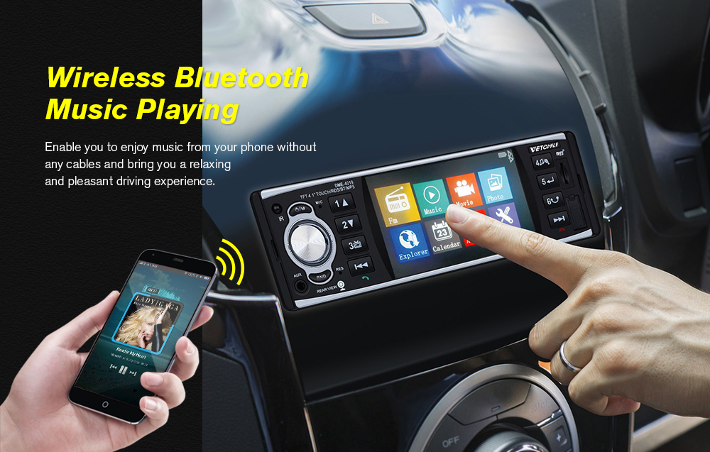 VETOMILE DME-4019 Car MP5 Player 4inch with RDS function ï¼Car rear view Cameraï¼- Black
