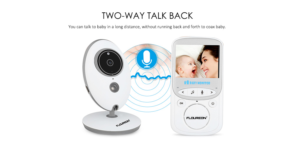 FLOUREON 2.4inch  Digital Wireless 2.4 GHz Baby Monitor LCD Video Nanny Security Camera Temperature Display 2 Way Talk Night Vision Lullabies Radio EU- White